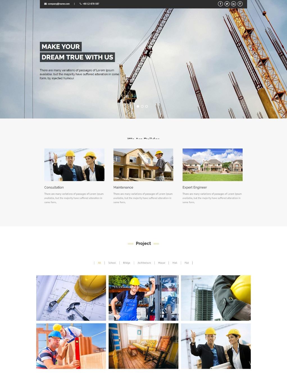 Тематический шаблон HTML для строительной фирмы
