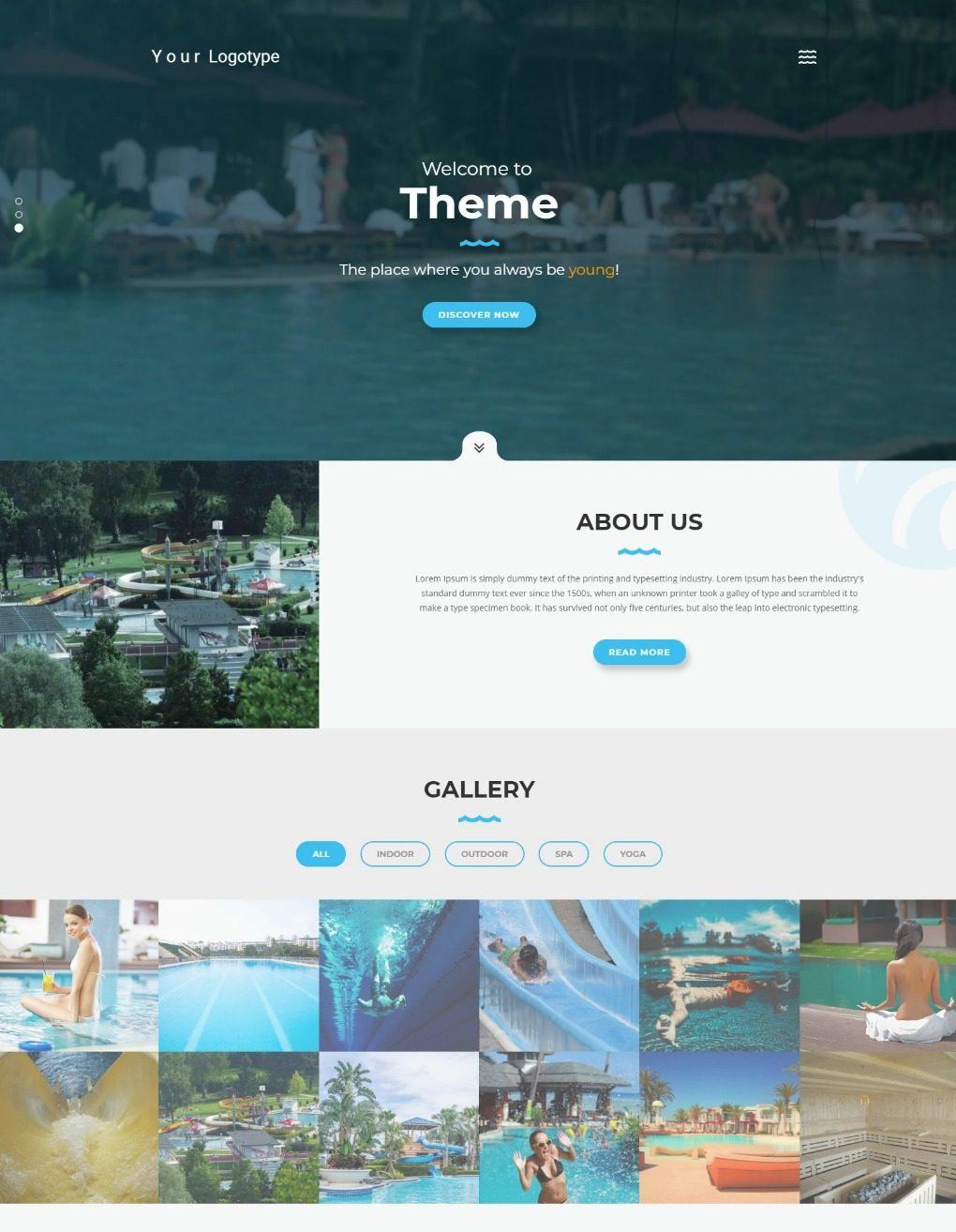 Шаблон HTML для СПА, бассейнов, отдыха на воде